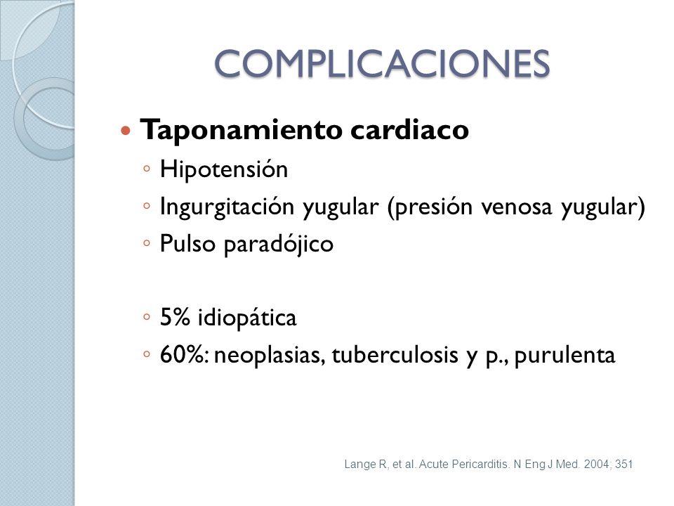 COMPLICACIONES Taponamiento cardiaco Hipotensión