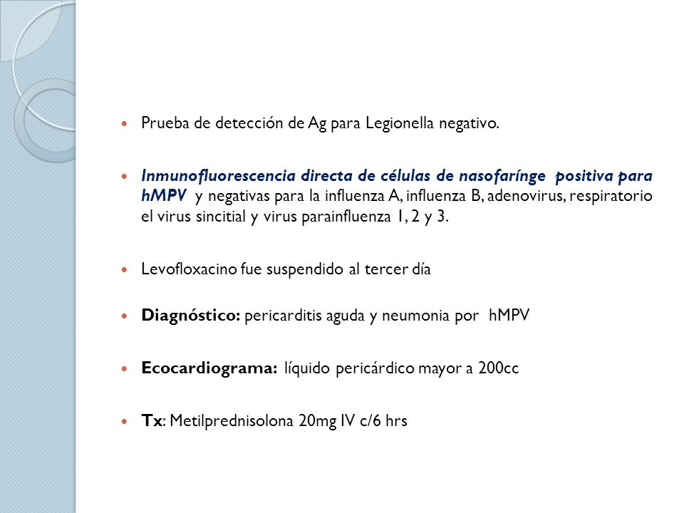 Prueba de detección de Ag para Legionella negativo.