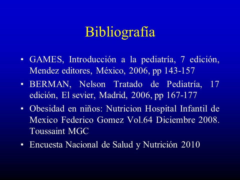 Bibliografía GAMES, Introducción a la pediatría, 7 edición, Mendez editores, México, 2006, pp 143-157.