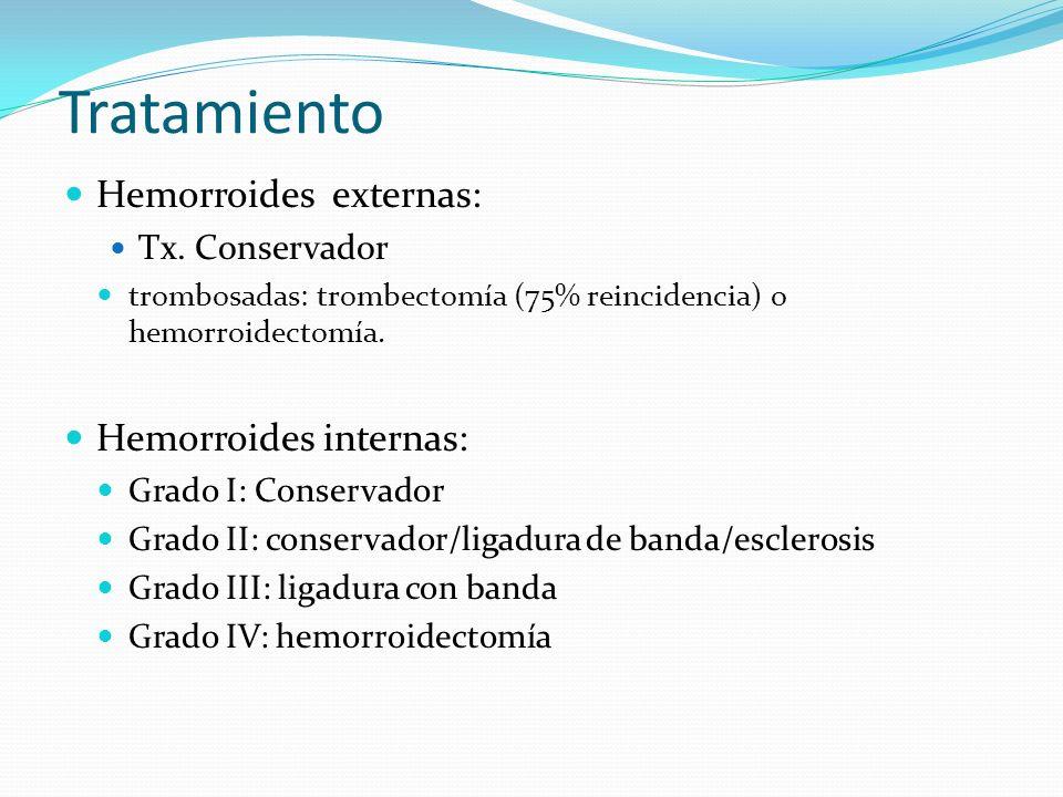 Tratamiento Hemorroides externas: Hemorroides internas: