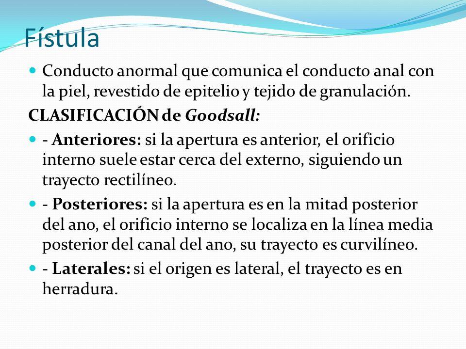 Fístula Conducto anormal que comunica el conducto anal con la piel, revestido de epitelio y tejido de granulación.