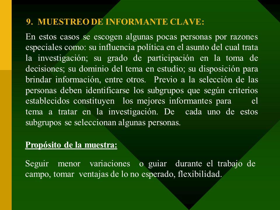 9. MUESTREO DE INFORMANTE CLAVE: