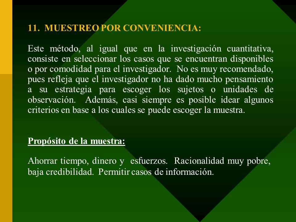 11. MUESTREO POR CONVENIENCIA:
