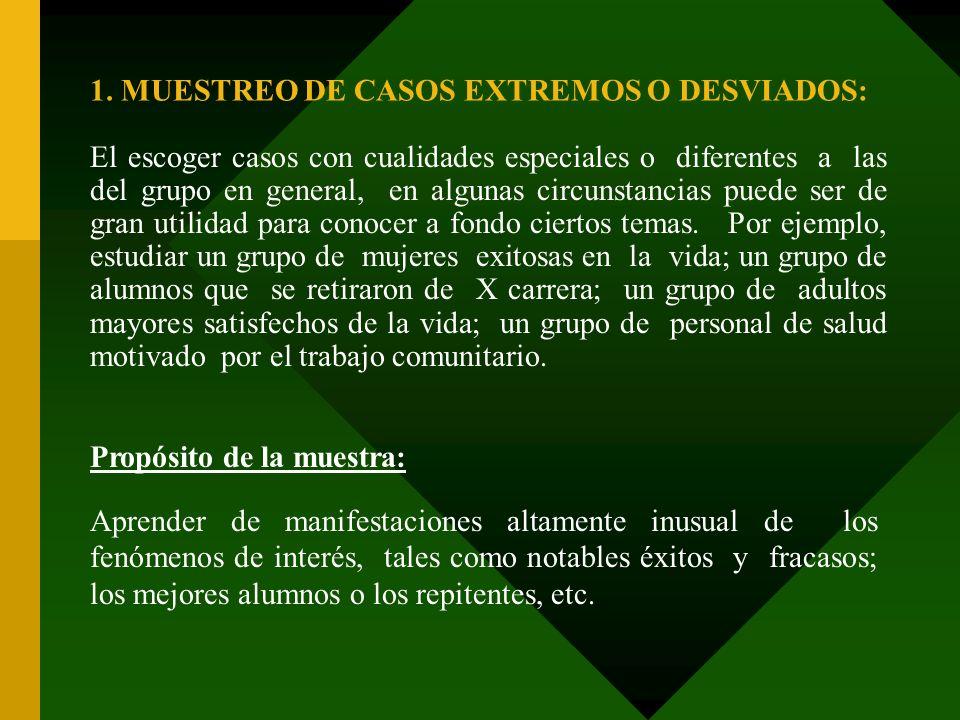 1. MUESTREO DE CASOS EXTREMOS O DESVIADOS: