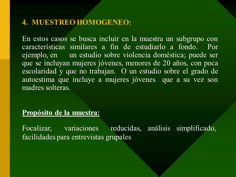 4. MUESTREO HOMOGENEO: