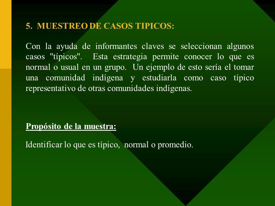 5. MUESTREO DE CASOS TIPICOS: