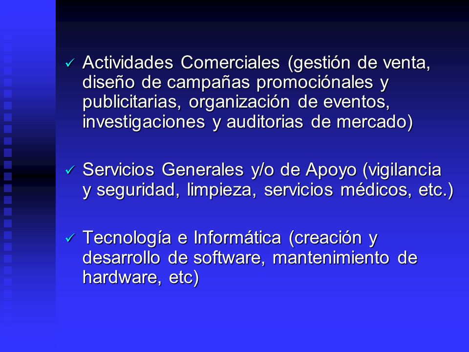 Actividades Comerciales (gestión de venta, diseño de campañas promociónales y publicitarias, organización de eventos, investigaciones y auditorias de mercado)
