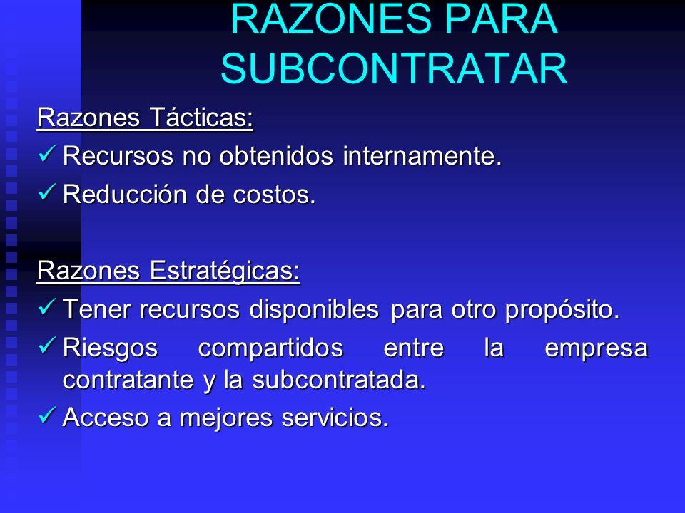 RAZONES PARA SUBCONTRATAR