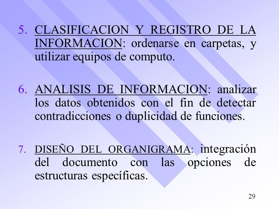 CLASIFICACION Y REGISTRO DE LA INFORMACION: ordenarse en carpetas, y utilizar equipos de computo.