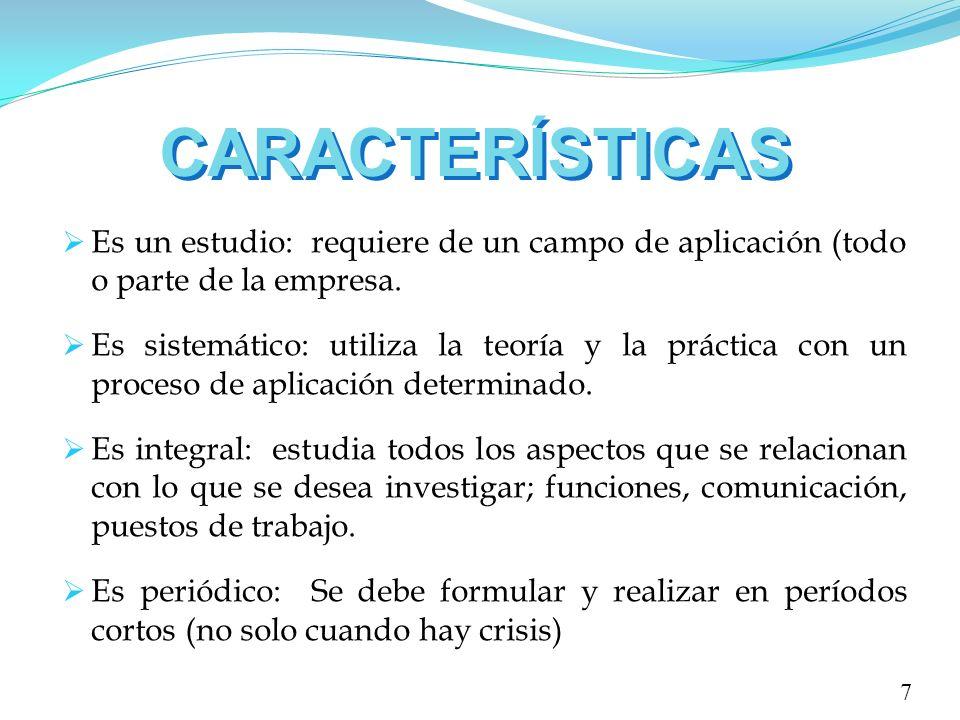 CARACTERÍSTICAS Es un estudio: requiere de un campo de aplicación (todo o parte de la empresa.