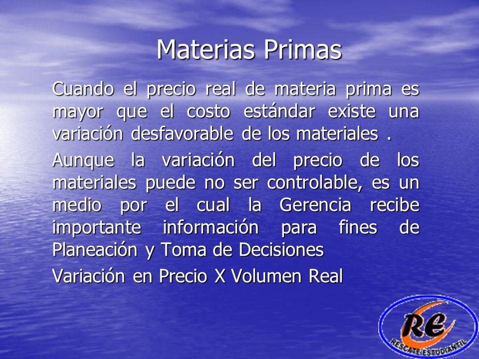 Materias PrimasCuando el precio real de materia prima es mayor que el costo estándar existe una variación desfavorable de los materiales .