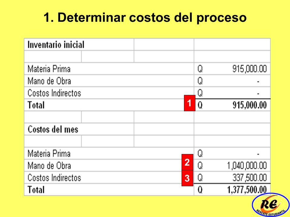 1. Determinar costos del proceso