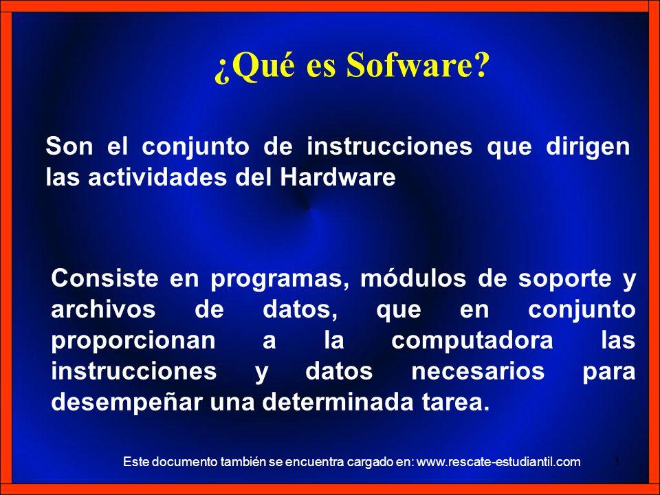 ¿Qué es Sofware Son el conjunto de instrucciones que dirigen las actividades del Hardware.