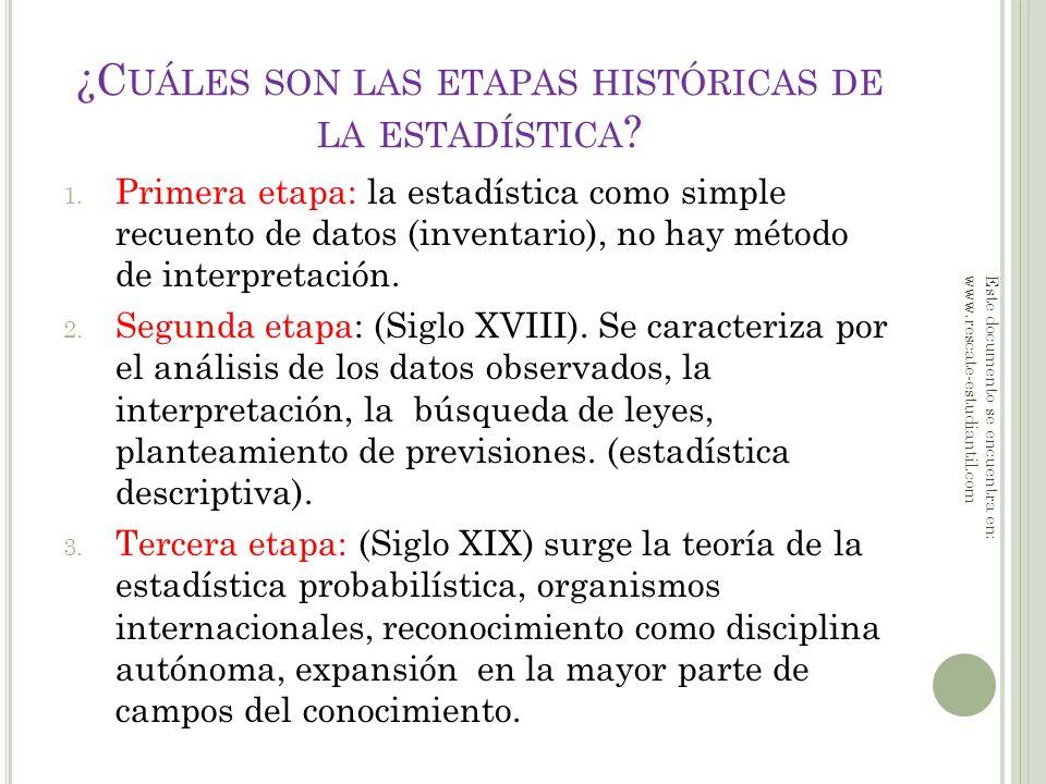 ¿Cuáles son las etapas históricas de la estadística
