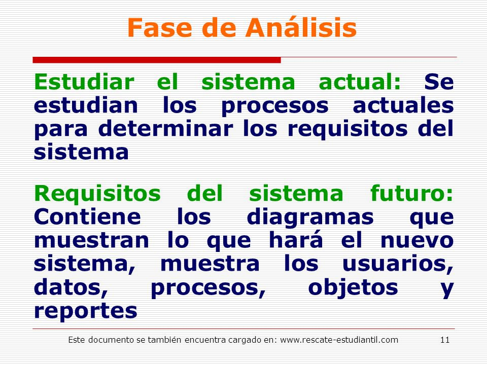 Fase de AnálisisEstudiar el sistema actual: Se estudian los procesos actuales para determinar los requisitos del sistema.
