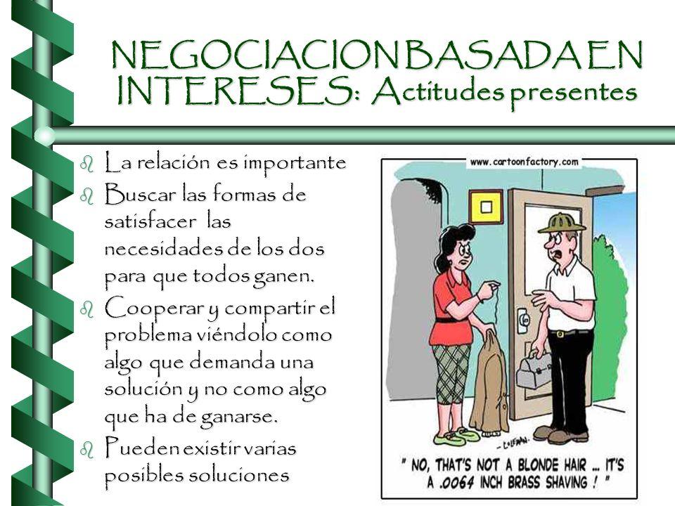 NEGOCIACION BASADA EN INTERESES: Actitudes presentes