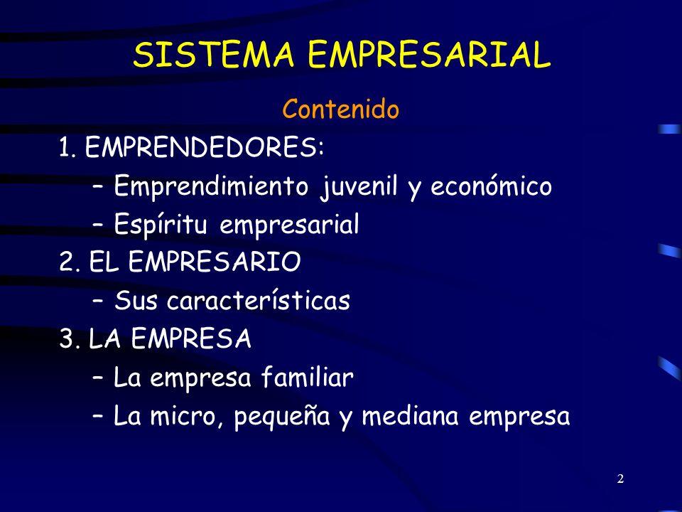 SISTEMA EMPRESARIAL Contenido 1. EMPRENDEDORES:
