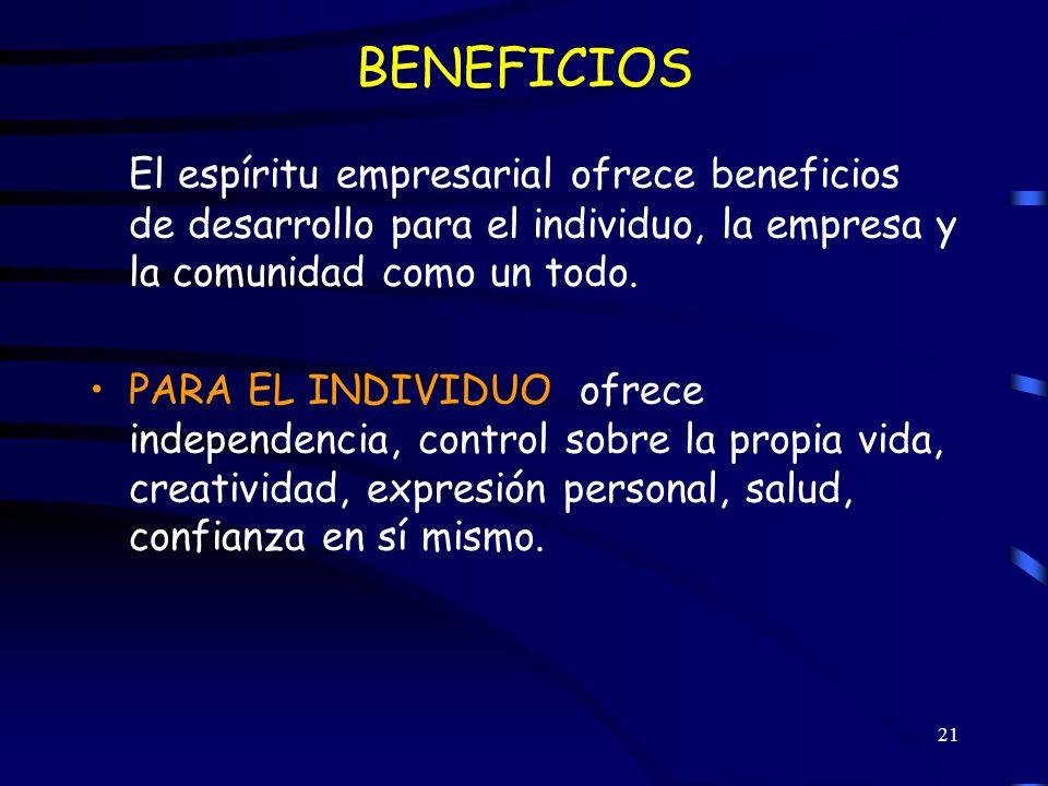 BENEFICIOSEl espíritu empresarial ofrece beneficios de desarrollo para el individuo, la empresa y la comunidad como un todo.