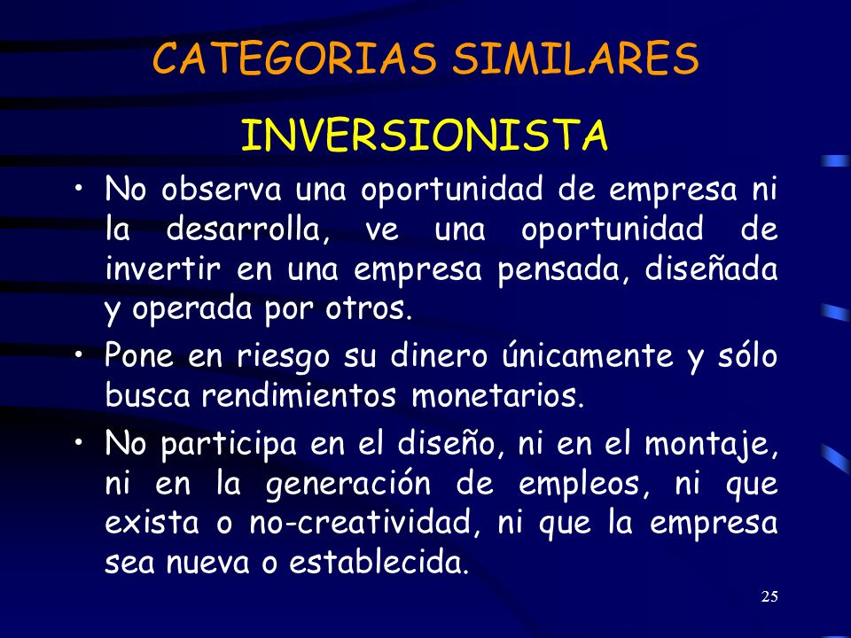CATEGORIAS SIMILARES INVERSIONISTA