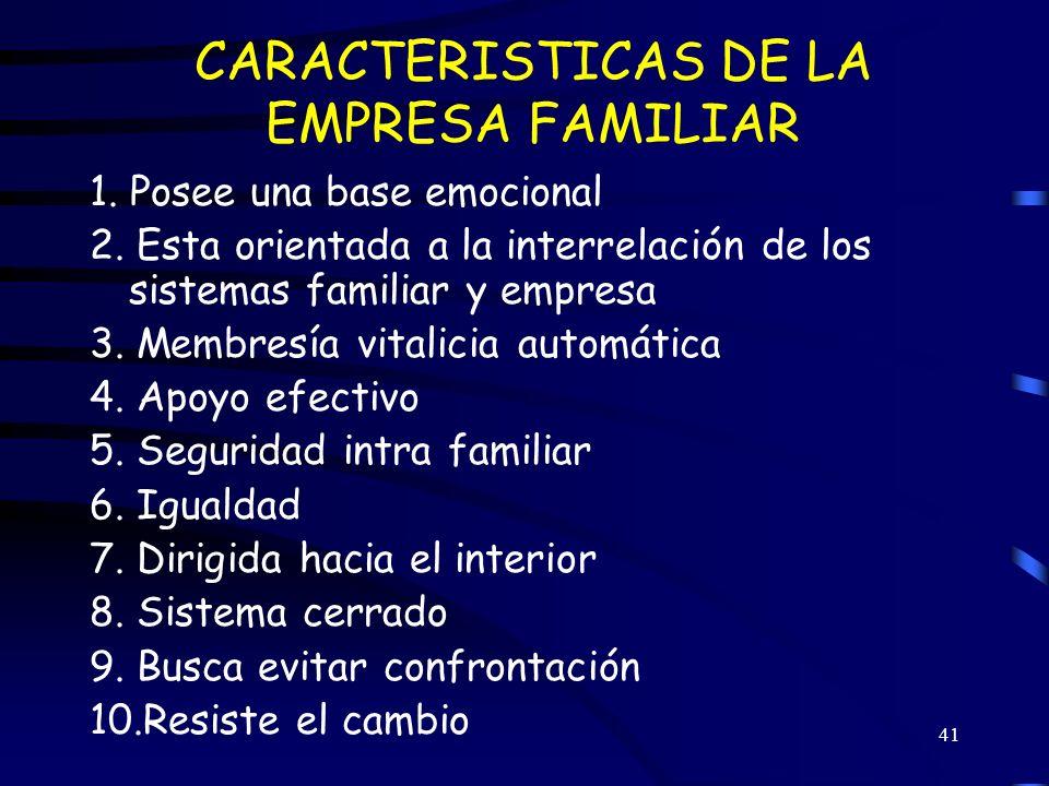 CARACTERISTICAS DE LA EMPRESA FAMILIAR