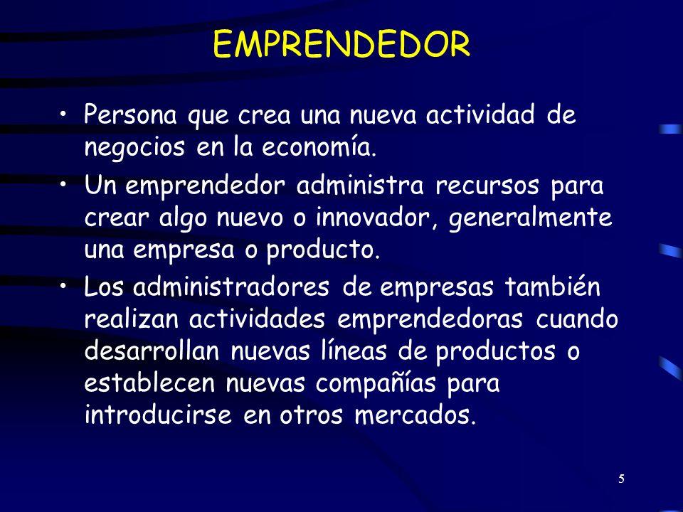 EMPRENDEDOR Persona que crea una nueva actividad de negocios en la economía.