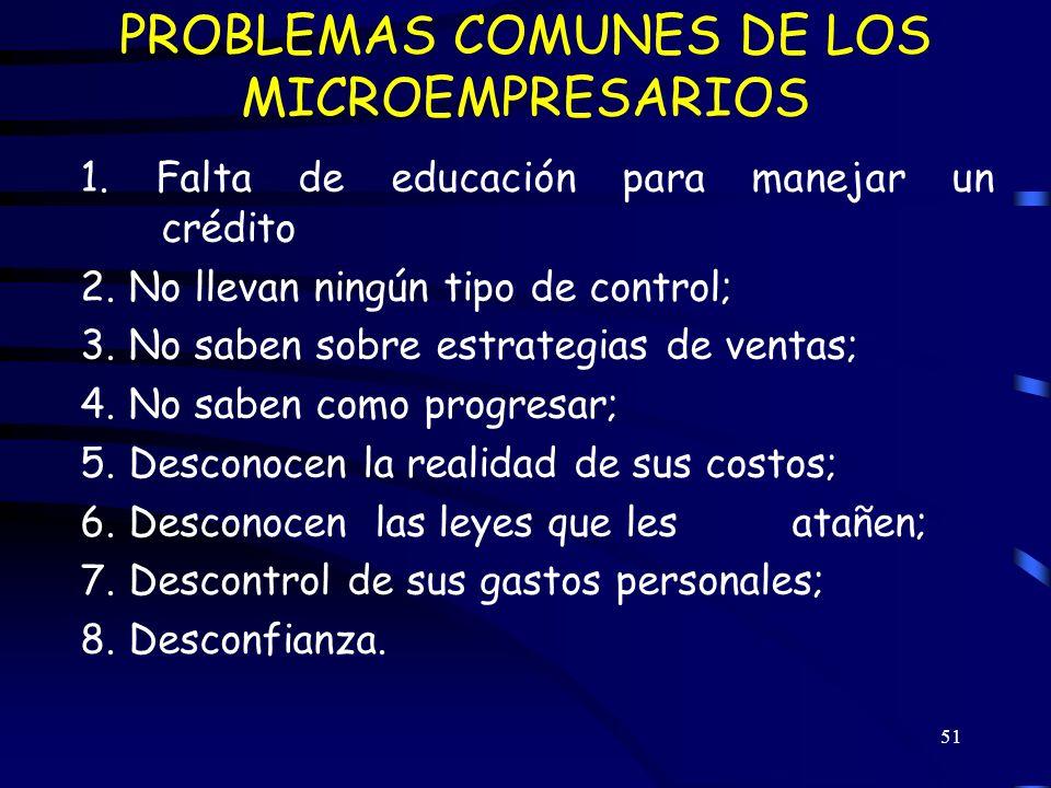 PROBLEMAS COMUNES DE LOS MICROEMPRESARIOS