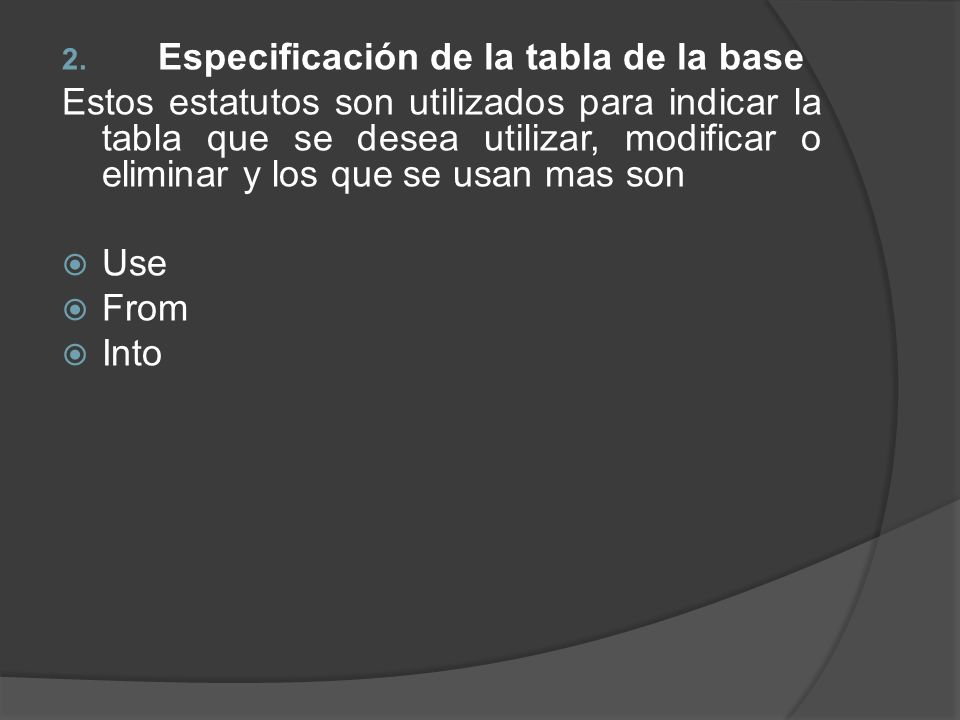 Especificación de la tabla de la base
