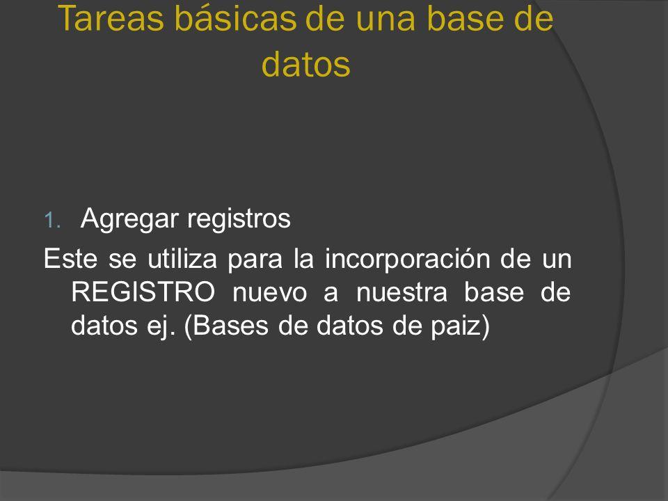 Tareas básicas de una base de datos