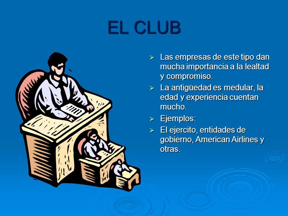 EL CLUB Las empresas de este tipo dan mucha importancia a la lealtad y compromiso. La antigüedad es medular, la edad y experiencia cuentan mucho.