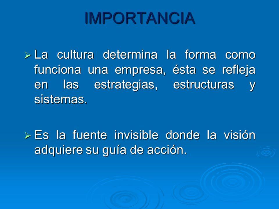 IMPORTANCIA La cultura determina la forma como funciona una empresa, ésta se refleja en las estrategias, estructuras y sistemas.