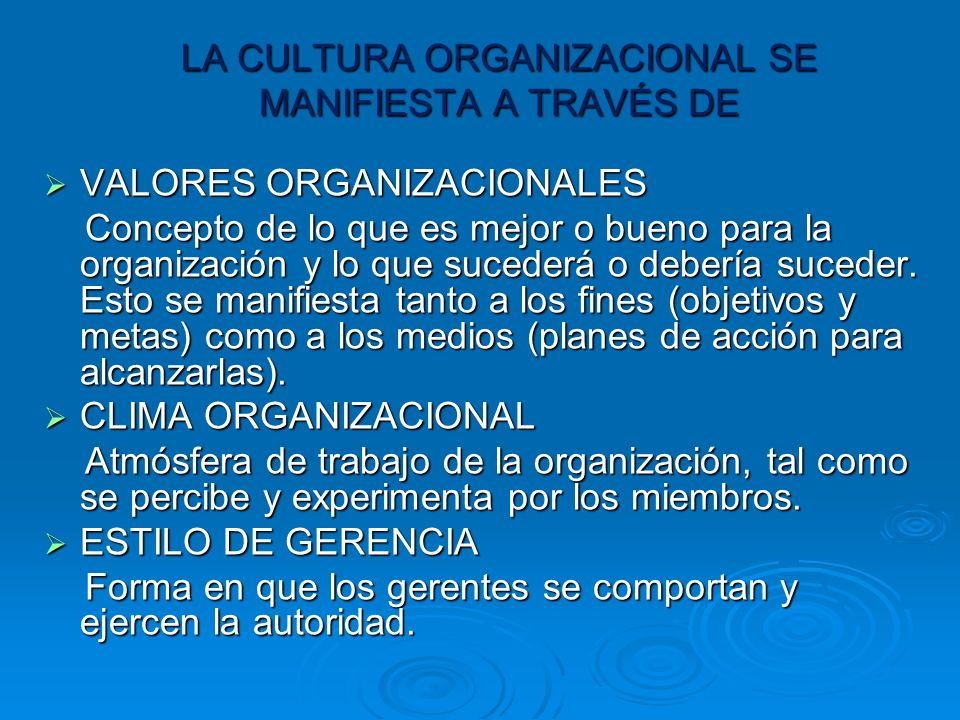 LA CULTURA ORGANIZACIONAL SE MANIFIESTA A TRAVÉS DE