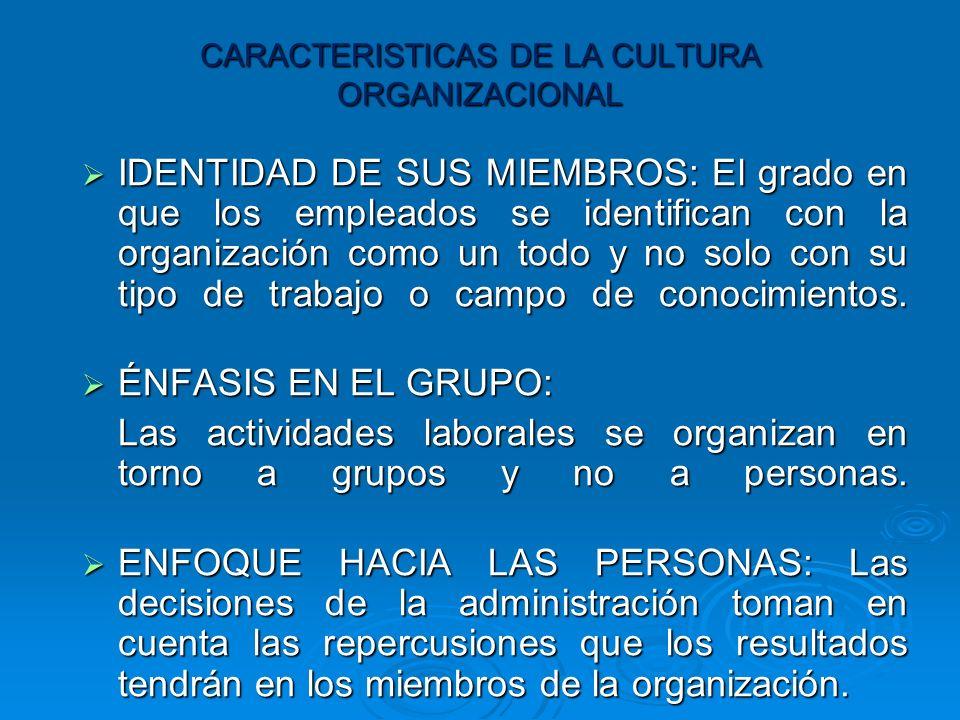 CARACTERISTICAS DE LA CULTURA ORGANIZACIONAL