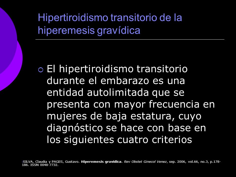 Hipertiroidismo transitorio de la hiperemesis gravídica