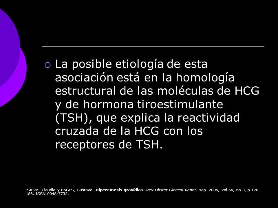 La posible etiología de esta asociación está en la homología estructural de las moléculas de HCG y de hormona tiroestimulante (TSH), que explica la reactividad cruzada de la HCG con los receptores de TSH.