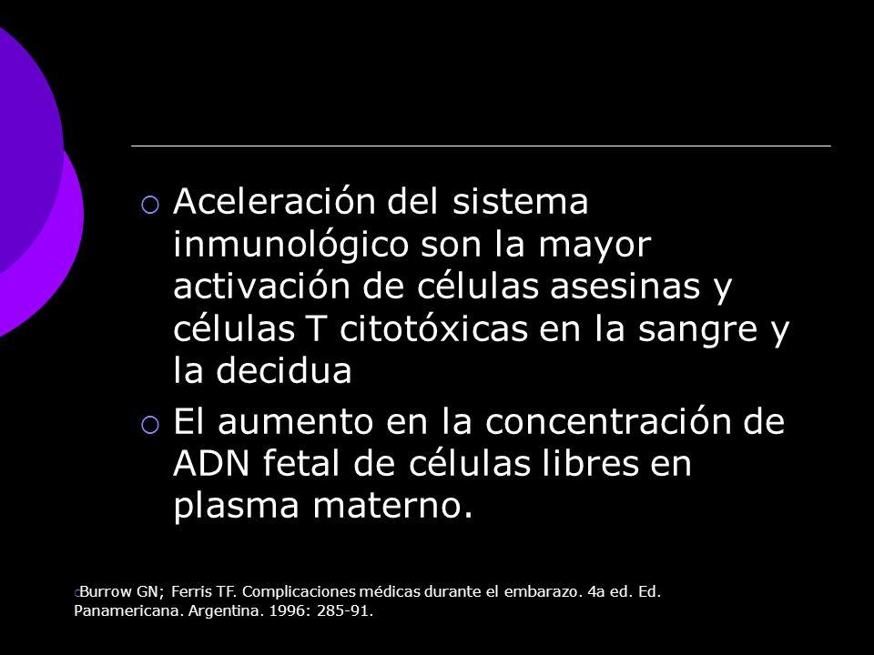 Aceleración del sistema inmunológico son la mayor activación de células asesinas y células T citotóxicas en la sangre y la decidua