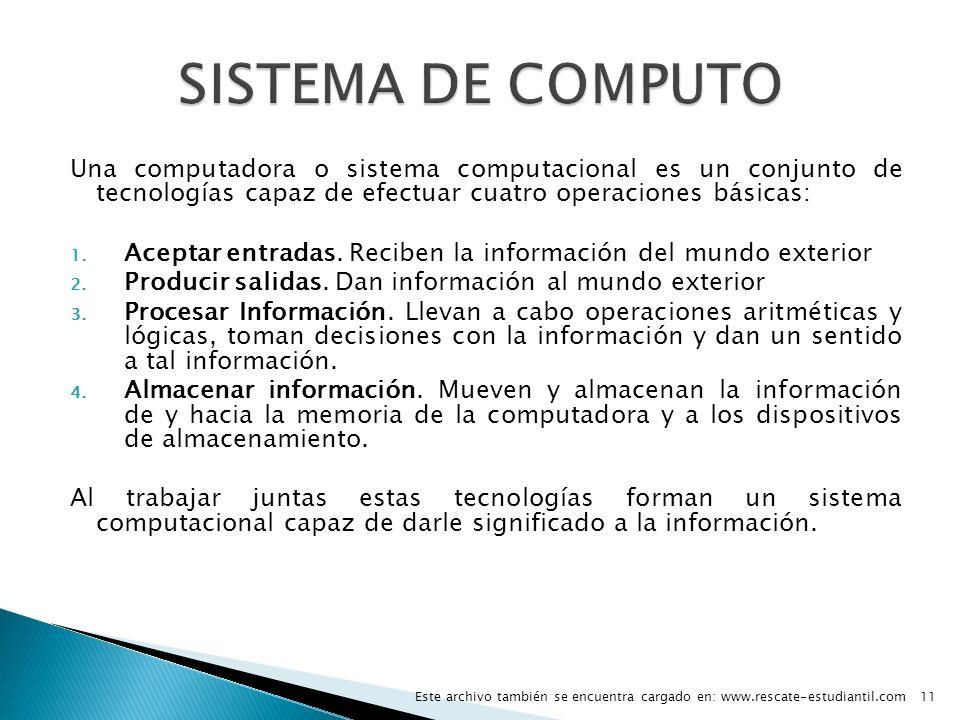SISTEMA DE COMPUTO Una computadora o sistema computacional es un conjunto de tecnologías capaz de efectuar cuatro operaciones básicas: