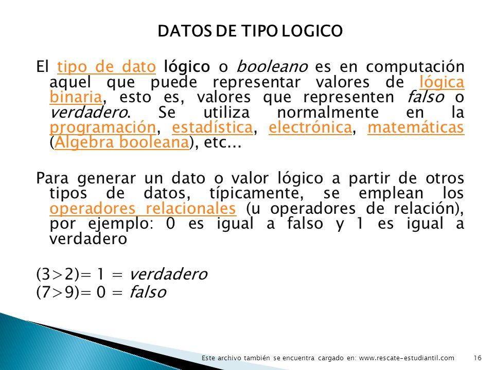 DATOS DE TIPO LOGICO