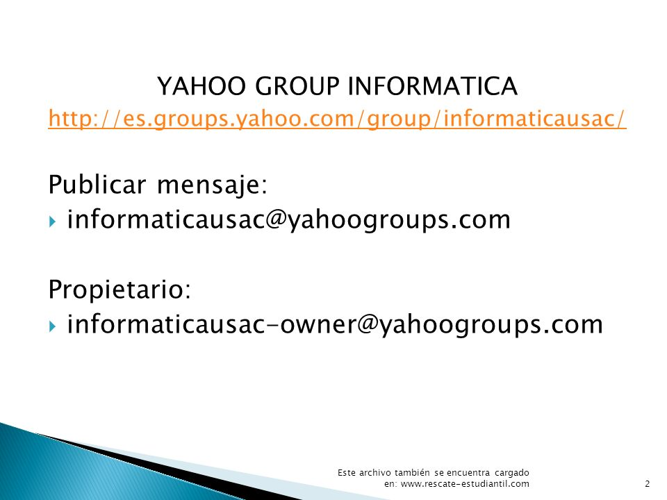 YAHOO GROUP INFORMATICA
