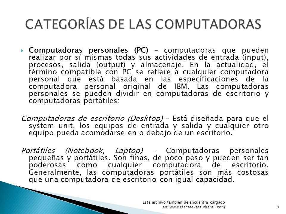 CATEGORÍAS DE LAS COMPUTADORAS