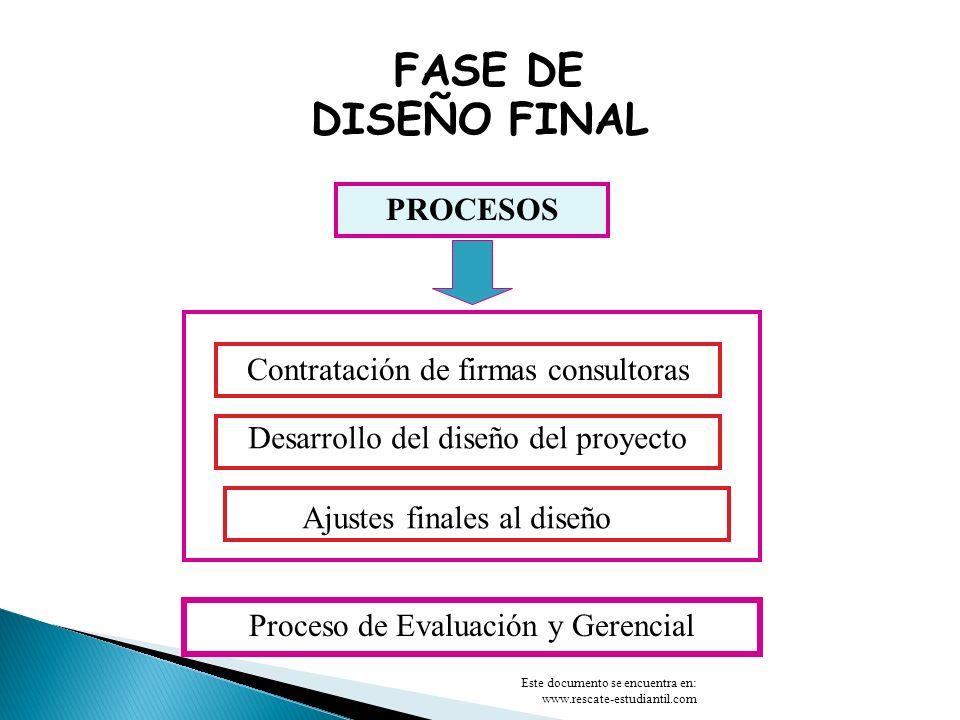 FASE DE DISEÑO FINAL PROCESOS Contratación de firmas consultoras