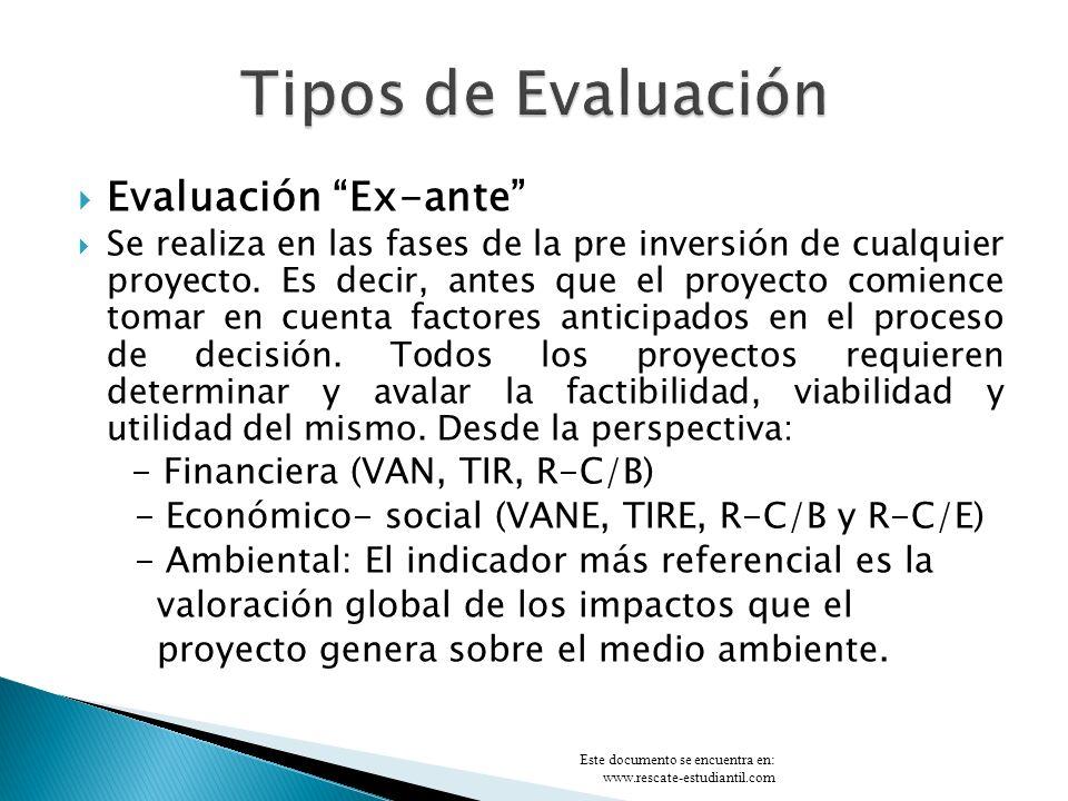 Tipos de Evaluación Evaluación Ex-ante