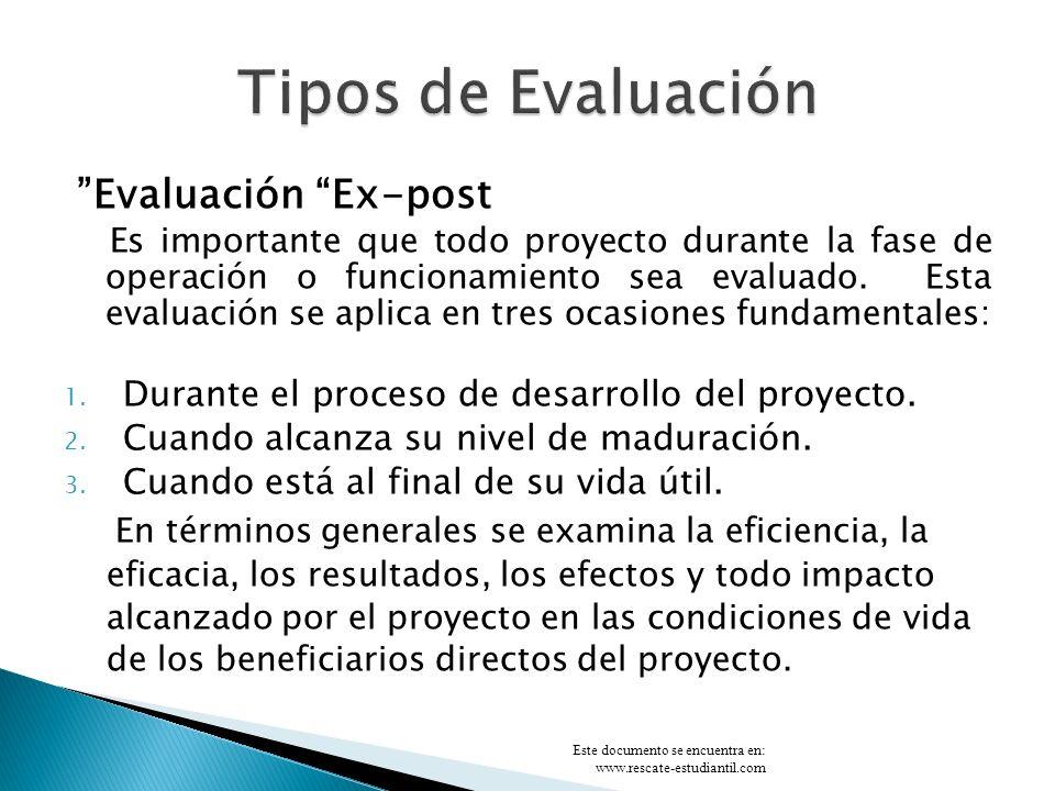 Tipos de Evaluación Evaluación Ex-post
