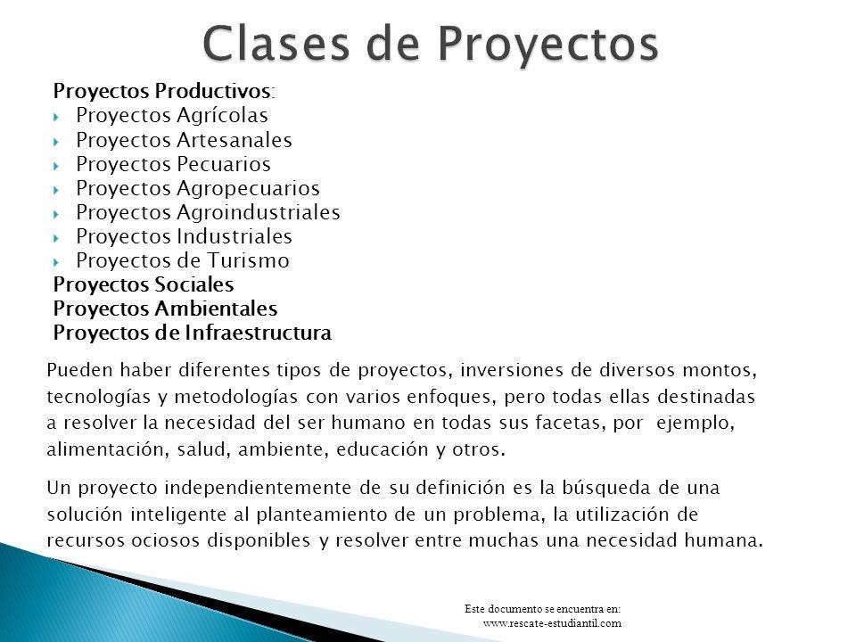 Clases de Proyectos Proyectos Productivos: Proyectos Agrícolas