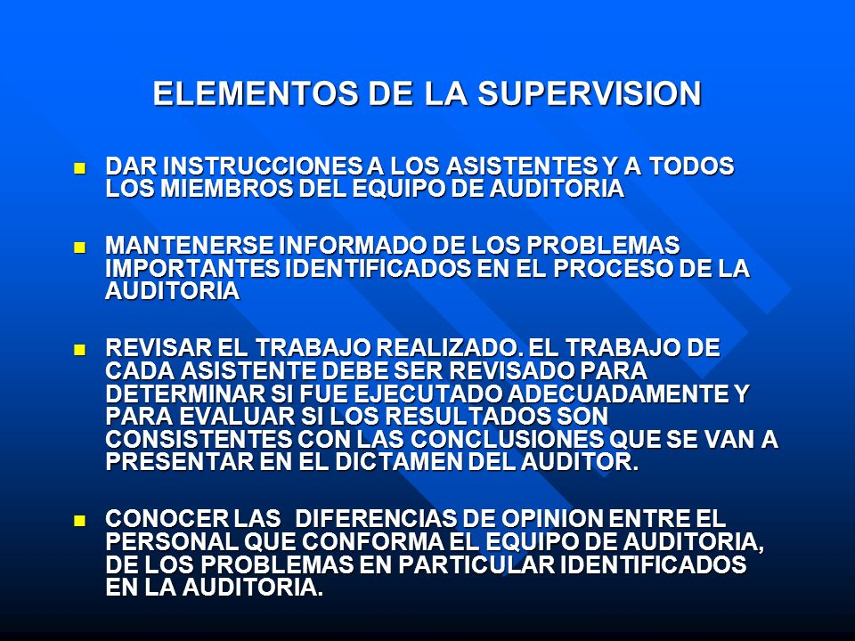 ELEMENTOS DE LA SUPERVISION