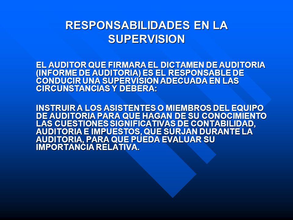 RESPONSABILIDADES EN LA SUPERVISION