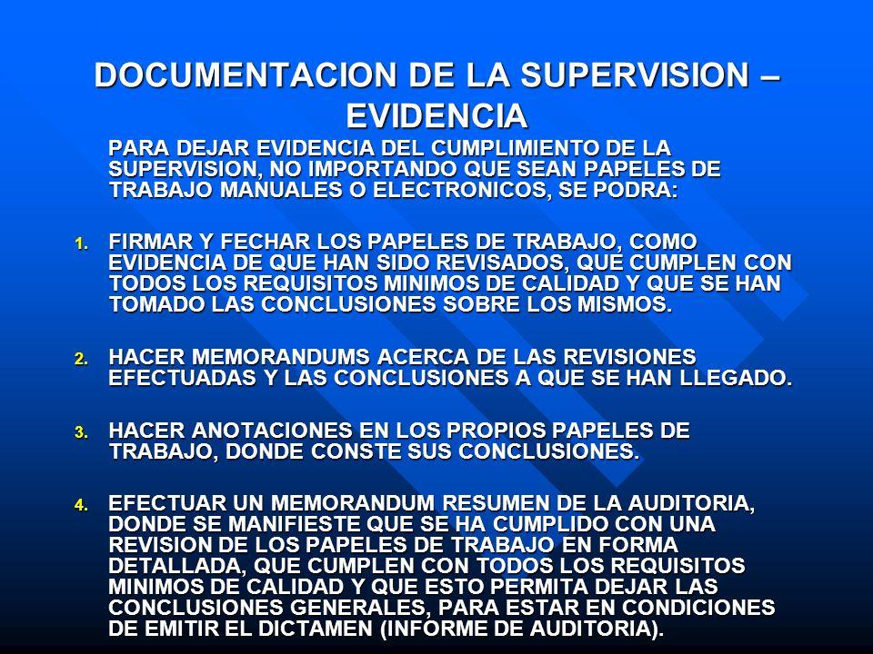 DOCUMENTACION DE LA SUPERVISION – EVIDENCIA