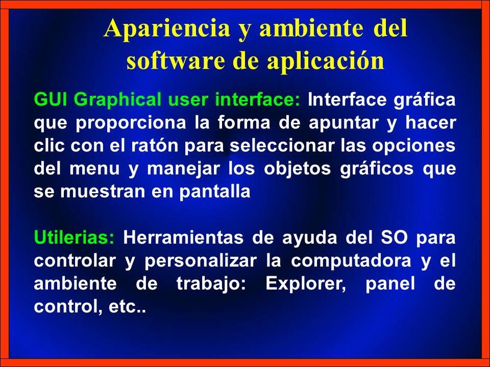 Apariencia y ambiente del software de aplicación