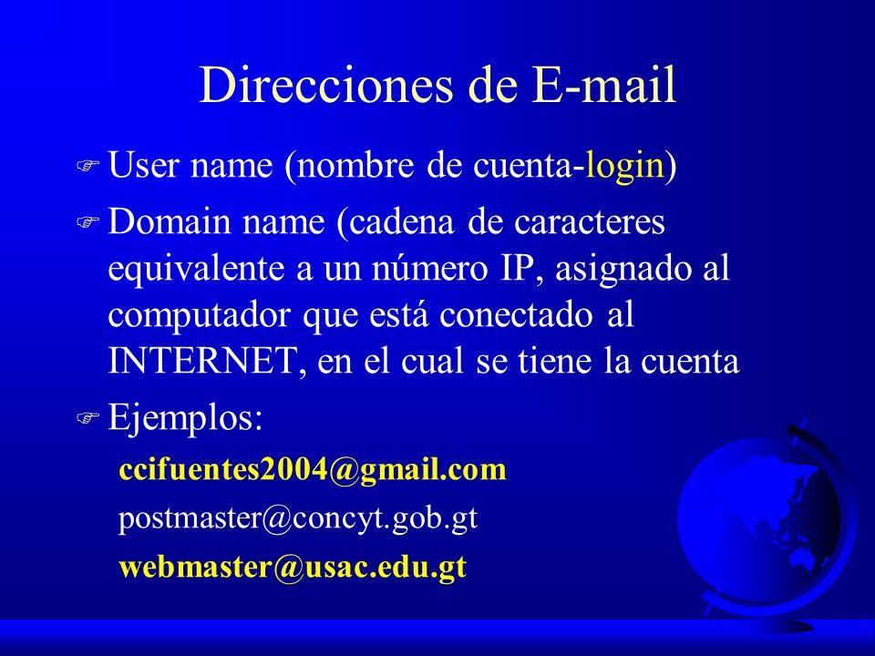 Direcciones de E-mail User name (nombre de cuenta-login)