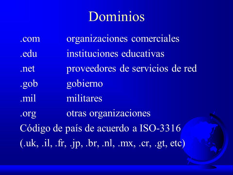 Dominios .com organizaciones comerciales .edu instituciones educativas