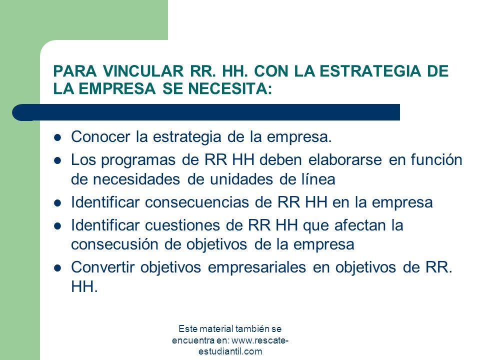 PARA VINCULAR RR. HH. CON LA ESTRATEGIA DE LA EMPRESA SE NECESITA: